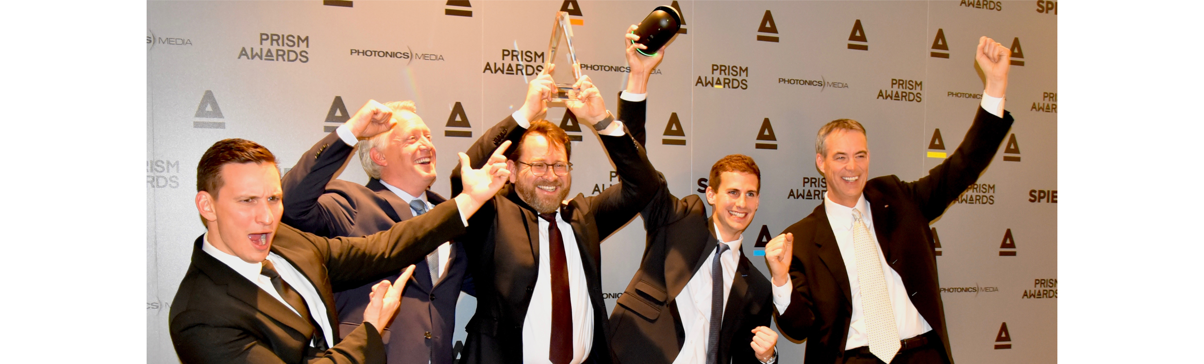 From left to right: Leica Geosystems' Kevin Rinaldi-Young, content product specialist; Hugh Baertlein,VP of eBusiness; Burkhard Boeckem, CTO; Lukas Heinzle, product engineer; and Ken Mooyman, NAFTA president, celebrate the BLK360's win at the PRISM Awards for Photonics Innovation in San Francisco, USA, 1 February 2017.