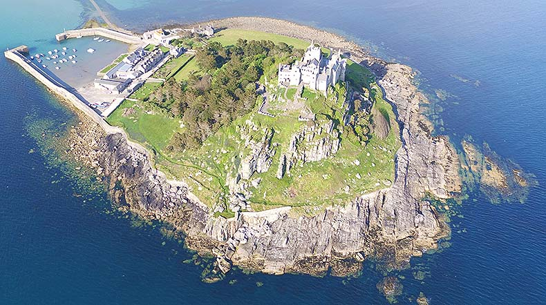 St Michaels Mount aerial view
