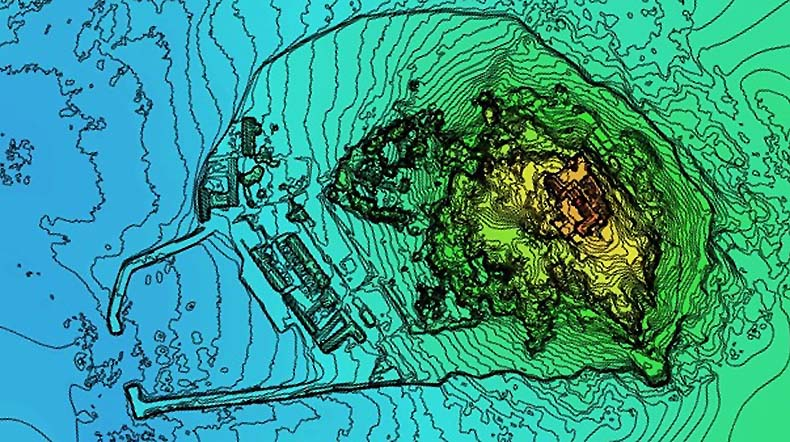 Contour map of St Michaels Mount