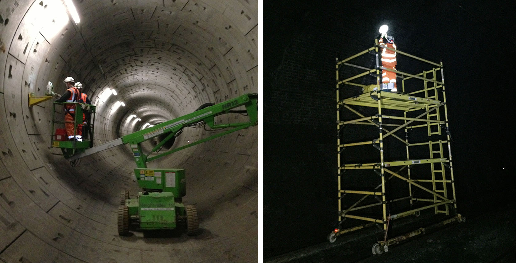 Kings Cross canal tunnels installation including a scaffold