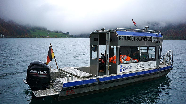 Surveying vessel on the Kloentalersee