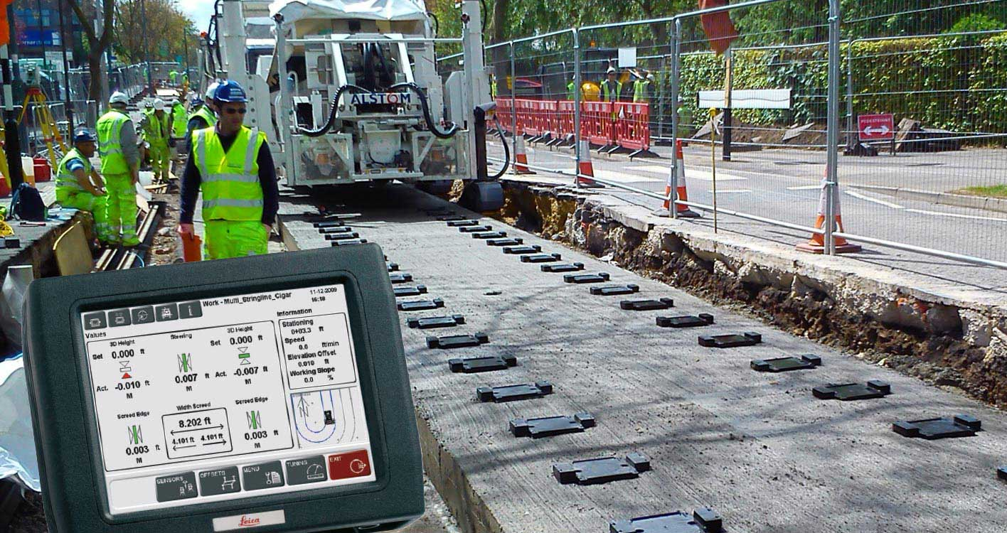 Solutions de construction lourde Leica Geosystems - Rail - Maintenance - Pose de revêtement, finition et compactage, Leica PaveSmart 3D