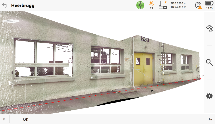 A scan of a building, a dxf file with the lines and single points of the objects located in the working area