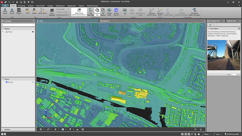 Leica Infinity surveying software screen shot arcGIS