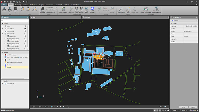 Leica Infinity Surveying Software screenshot arcGIS