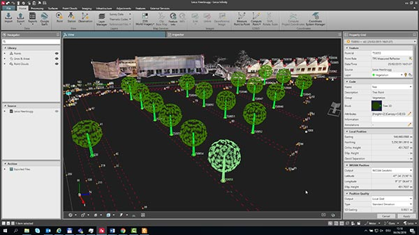 Leica Infinity surveying software feature coding screenshot