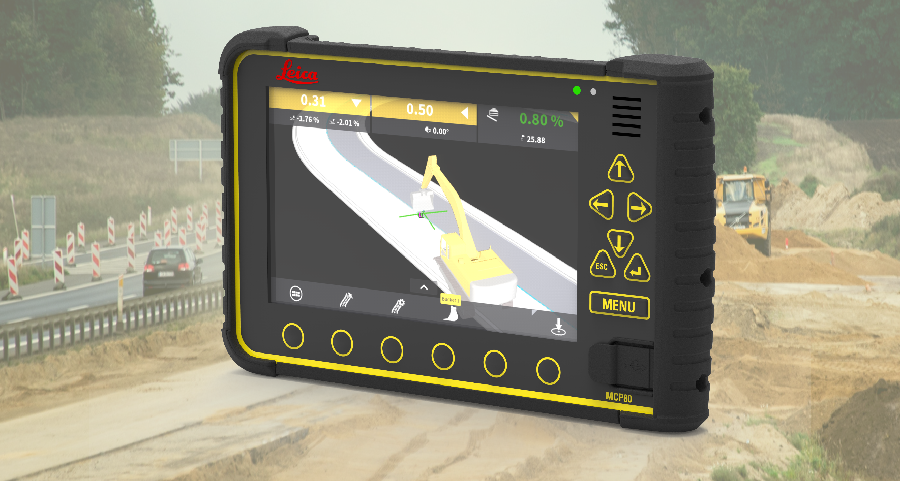 Leica MC1 for Excavators, ConX connect, add intelligence  to heavy construction projects, sites